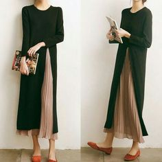 Plissee-Highlight in 2020 Modest Fashion, Hijab Fashion, Korean Fashion, Fashion Dresses, Look Fashion, Womens Fashion, Fashion Design, Fashion Vestidos, Outfit Trends