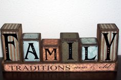 Family Traditions Block Set Blue/Brown