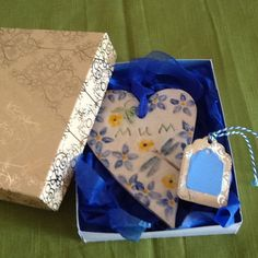 Mother's Day gift heart forget me nots by Paintspotsandpaper