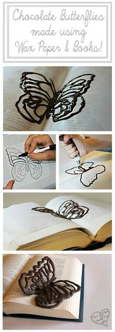 Chocolate butterfly using wax paper and a book - what a great idea for a birthday cake or cupcakes!
