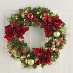 Pre-Lit Poinsettia Wreath - Royal Red 26""