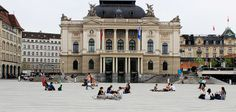 People on the Opera Square in Zurich, Switzerland Zurich, Switzerland, Opera, Louvre, Street View, Explore, Building, People, Travel