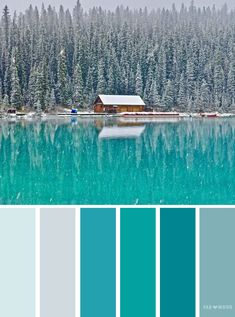 Emerald teal winter landscape color scheme ,color palette - Looking for color inspiration? At fab mood you will find 1000s of beautiful color palette, color palette inspired by nature,landscape ,food ,season