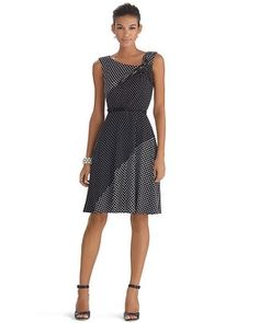 White House   Black Market Sleeveless Twist Polka Dot Fit and Flare Dress #whbm,, love this, with the light & dark might help hid my problem area