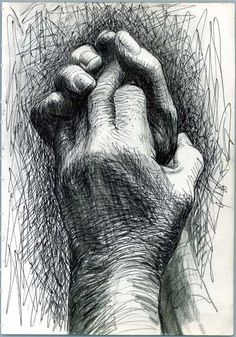 TECHNICAL DRAWING: This drawing is called Again by artist Henry Moore. I am not to sure what the medium used in this but it kind of looks like pen but in saying that I like the way he has used cross hatching to define the drawing of the his own hands. Basic Drawing, Life Drawing, Drawing Sketches, Pencil Drawings, Painting & Drawing, Art Drawings, Sketching, Drawing Hands, Drawings Of Hands