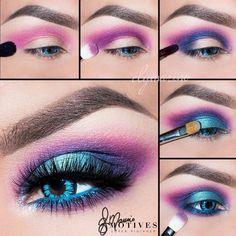 Purple Eye Makeup Electric Neon Turquoise Blue Purple Pink Eye Makeup Purple Eye Makeup Easy Eyeshadow Tutorial Purple And Light Pink Charlotta Eve. Purple Eye Makeup Purple Eye Makeup Beautiful Eye Makeup Close Up. 80s Eye Makeup, 80s Makeup Trends, Makeup Inspo, Eyeshadow Makeup, Makeup Inspiration, Makeup Tips, Makeup Ideas, Makeup Products, Makeup Brushes