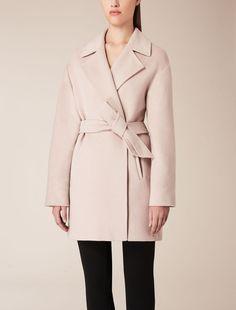 Max Mara AIRE pink: Wool, silk and angora overcoat.