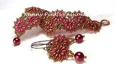 DOUBLE Tutorial - Suzannah Bracelet & Earrings by Nanny Pink's Passion
