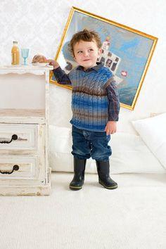 Cutie pattern - 'grown-up' vest for little boys in merino DK MERINO 120 Color from LANGYARNS FAM 206 - BABY # 28