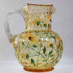Antique Victorian Art Glass Enamel Amber Coin by SummitAntiqueCup