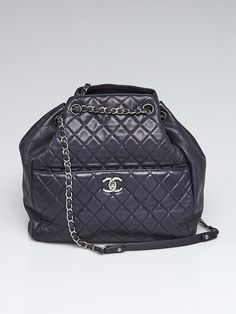 5240f42c4b8f6 Chanel Dark Navy Quilted Lambskin Leather Large Drawstring Shoulder Bag - Yoogi s  Closet Navy Quilt