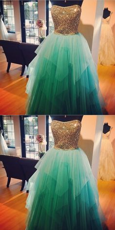 Prom Dresses,Ball Gown Prom Dresses,Long Prom Dresses,Gold Prom Dresses,Turquoise Prom Dresses,Tiered Prom Gowns,Party Gowns,Gold Beads Evening Gowns