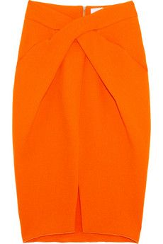 Would love this twist-front wool-crepe pencil skirt in a different color