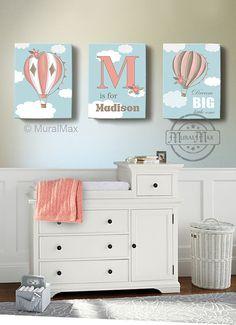 Hot Air Balloon Art Girl Bedroom Decor Floral Hot Air by MuralMAX