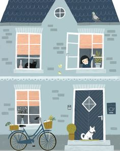 one day in spring, illustration by Tina Schulte, Jan 2018 Art And Illustration, Building Illustration, Doodle Illustrations, Medical Illustration, Affinity Designer, Cute House, House Drawing, Travel Humor, Flat Design