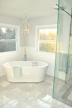 Idea for master bath...love this big soaking tub. by mitzi