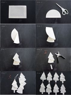 Anleitung für die Bäumchen aus alten Buchseiten… Tutorial… – HANDMADE Kultur And I fold and fold …. Instructions for the trees from old book pages … Tutorial … – HANDMADE culture … Noel Christmas, Christmas Crafts For Kids, Simple Christmas, Holiday Crafts, Christmas Decorations, Origami Christmas Tree, Xmas Trees, Paper Christmas Ornaments, Unique Christmas Trees