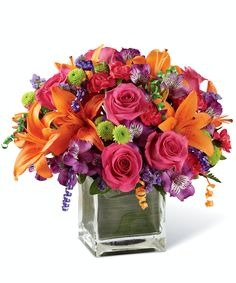 Happy Birthday Flower Bouquet, Mini Carnations, Gerbera Daisies, Peruvian Lilies, Birthday Cheers, Hot Pink Roses, Same Day Flower Delivery, Amazing Flowers, Floral Arrangements