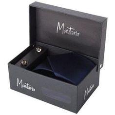 Cravate Et Boutons De Manchette Montana - Bleu Nuit #Cravate #Homme #Gift #FêteDesPères #Papa