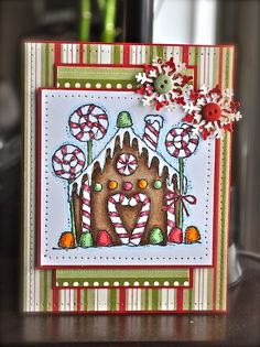 This reminds me of daughters birthday invites last year.  Love the gingerbread house!
