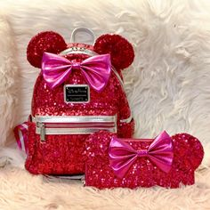 Brand new with tags Loungefly Disney Minnie Mouse imagination Sequin pink Backpack & matching wallet. Disney Parks X Loungefly logo label Disney Parks Exclusive Cute Mini Backpacks, Colorful Backpacks, Stylish Backpacks, Primark, Cool School Bags, Minnie Mouse Backpack, Cute Luggage, Disney Purse, Cute Disney Drawings
