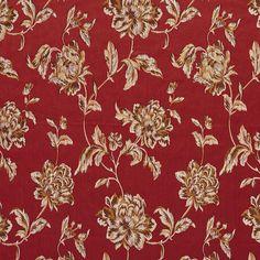 Red+and+Burgundy+Heirloom+Vintage+Flower+Pattern+Brocade+Upholstery+Fabric