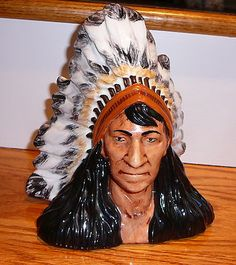 Hand Painted Ceramic Native American Indian Bust   eBay
