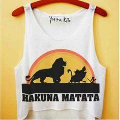 Shirt: disney crop tops the lion king hakuna matata yotta kilo tumblr... ❤ liked on Polyvore