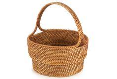 Handwoven Straw Garden Basket