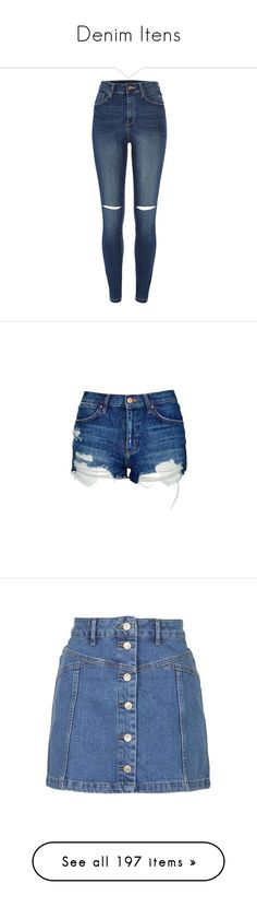 """Denim Itens"" by dianasf ❤ liked on Polyvore featuring denim, jeans, pants, bottoms, river island, sale, ripped jeans, distressed jeans, high rise jeans and high waisted ripped jeans"