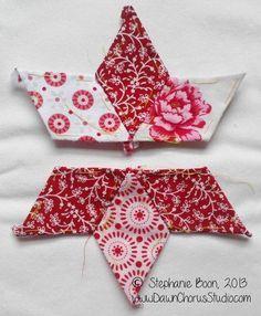English Paper Piecing tutorial: stitching stars with diamonds.