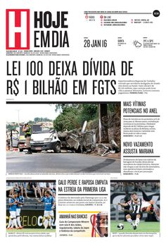 Capa do dia 28/01/2016 #HojeEmDia #Jornal #Notícias #News #Newspaper