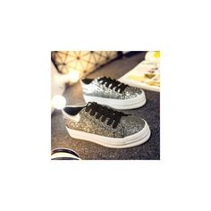 Sequined Platform Lace-Up Canvas Sneakers (48 BAM) ❤ liked on Polyvore featuring shoes, sneakers, footware, black sequin sneakers, canvas sneakers, platform shoes, black lace up shoes and black canvas shoes