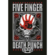 "#Bandiera ""Punchagram"" dei Five Finger Death Punch con stampa."
