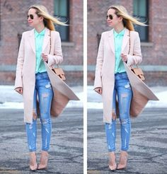 Love this fashion look with the long jacket,  ripped jeans and pastel colors