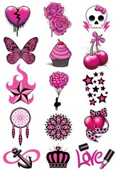 Pink and Black Laser Foil Temporary Tattoo Set