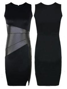 I'd kill em in this dress lol Pencil Dress PU Patchwork Sleeveless Bodycon Knee Length Dress