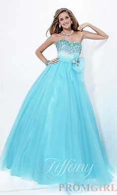 Strapless Lace Up Ball Gown by Tiffany 16717 at PromGirl.com