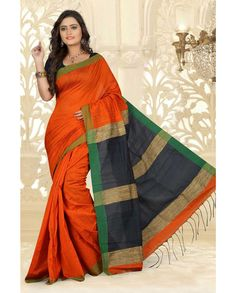 Orange Silk Cotton Saree With Blouse 66536