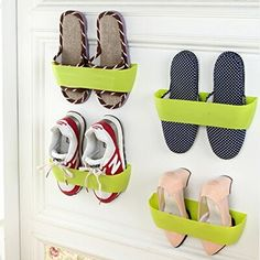 Creative Plastic Wall Mounted Shoes Rack for Entryway Over the Door Shoe Hangers Organizer Hanging Shoe Storage Solutions Racks with Foam Tape, Green (Set of 4) Just Life http://www.amazon.com/dp/B00VYDMW1C/ref=cm_sw_r_pi_dp_viYFwb0YBDFNN