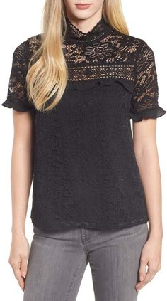 Gibson x Glam Squad Sheaffer Lace Top (Regular & Petite) (Nordstrom Exclusive) Suits For Women, Women Wear, T Shirts For Women, Glamorous Outfits, Bollywood Dress, Black Lace Tops, Indian Ethnic Wear, Work Fashion, Women's Fashion