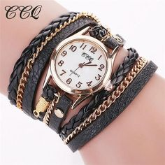 Womens Gold Chain Leather Bracelet Wrist Watch