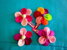 jardim de cores: Ganchos com flor em feltro