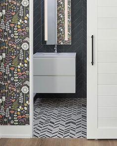 When a stunning organic wallpaper meets geometric tiles = magic happens! ✨ Product — Mews Geometric Tiles, Different Tones, Stone Tiles, Basic Colors, Color Themes, Porcelain Tiles, Contemporary, Shit Happens, Wallpaper