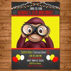 Curious George Invitation Chalkboard Theme -- Curious George Invite -- Curious George Birthday by NineLivesNotEnough on Etsy https://www.etsy.com/listing/211889909/curious-george-invitation-chalkboard