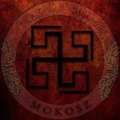 Mokosz -slavic mother godin. Swastika sacred slavic symbol