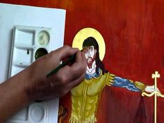 Before painting the face, in egg tempera, of the icon of the Third Horseman of the Apocalypse, a layer of sankir is applied. In this video the iconographer s. Orthodox Icons, Maybe One Day, Painting Videos, Sacred Art, Learn To Read, How To Apply, How To Make, Painting Techniques, Wood