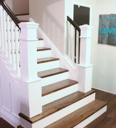 how to build custom newel posts for a staircase | Remodelaholic.com #stairs #build #diy