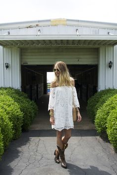 cf3ec7989901 off the shoulder lace shift dress with cowboy boots. Fashion Moxy