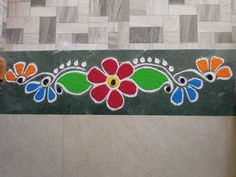 Rangoli Side Designs, Easy Rangoli Designs Diwali, Rangoli Designs Latest, Rangoli Borders, Small Rangoli Design, Colorful Rangoli Designs, Rangoli Ideas, Rangoli Designs Images, Kolam Rangoli
